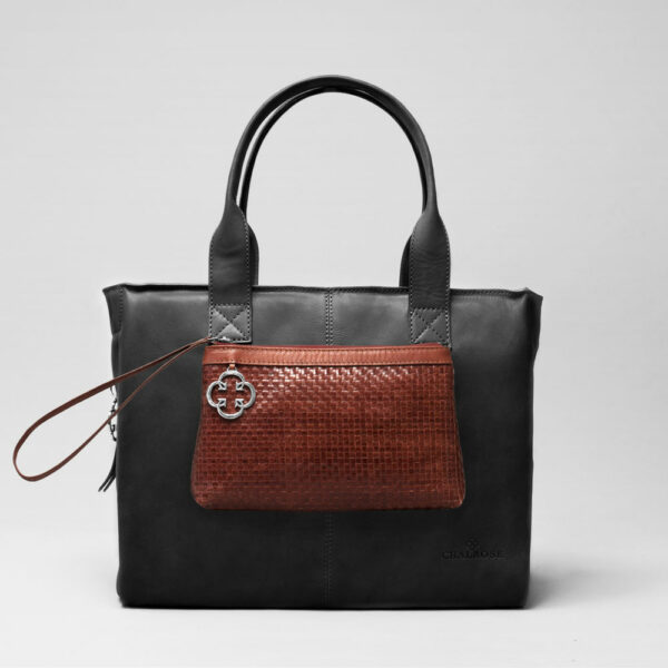 Clutch Dark Brown-City Bag Waxy Black