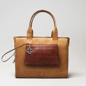 Clutch Dark Brown-City Bag Camel