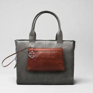Clutch Dark Brown-City Bag Dark Grey