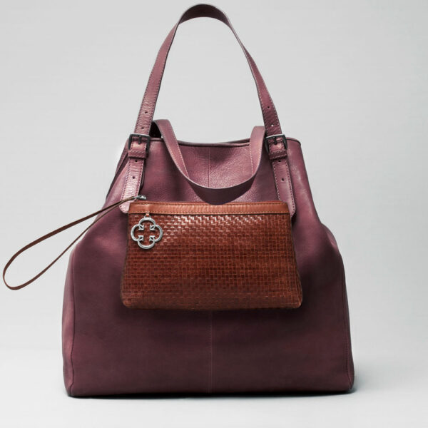 Woven Clutch Tan-Doppio Bordeaux