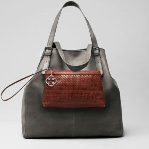 Woven Clutch Tan-Doppio Dark Grey