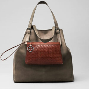 Woven Clutch Tan-Doppio Elephant Grey