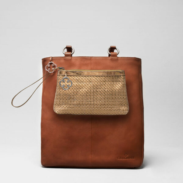 Clutch Gold - Back Shopper Cognac