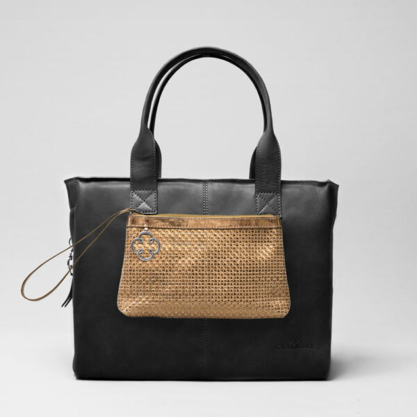 Clutch Gold-City Bag Waxy Black