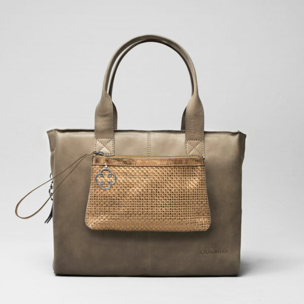 Woven Click Pouch Gold - City Bag Elephant Grey