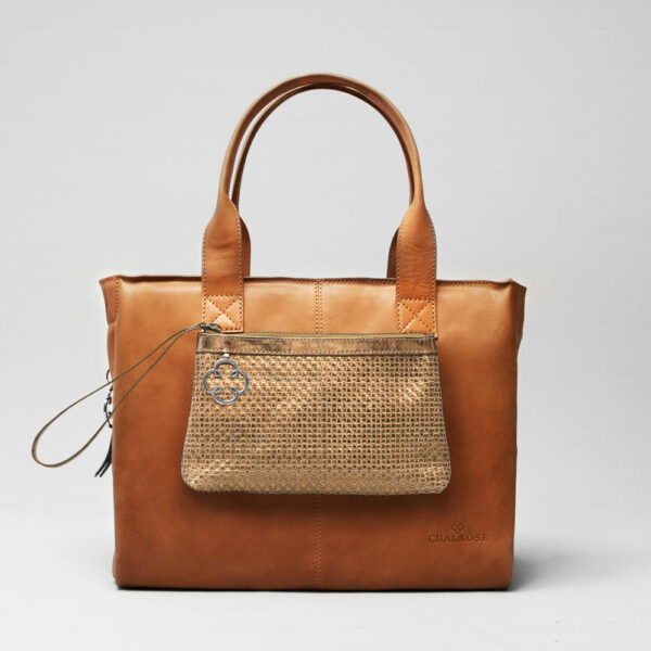 Clutch Gold-City Bag Tan