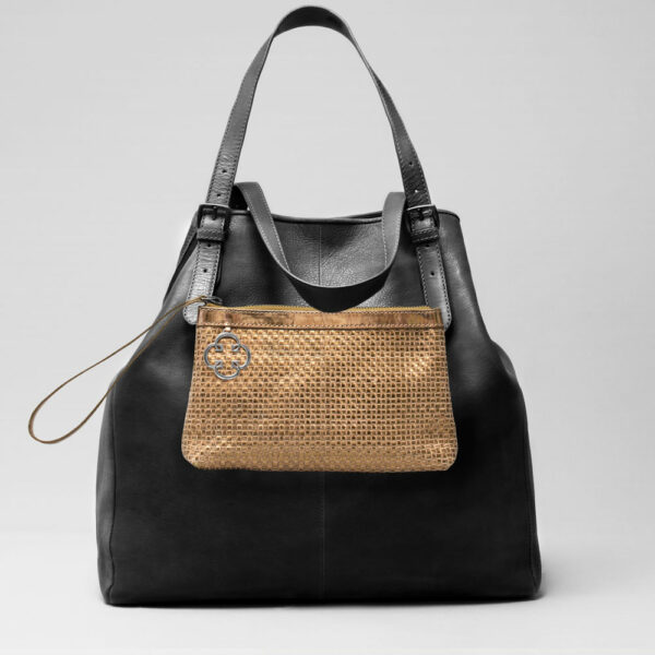 Woven Clutch Gold--Doppio Black Matt