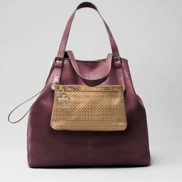 Woven Clutch Gold-Doppio Bordeaux