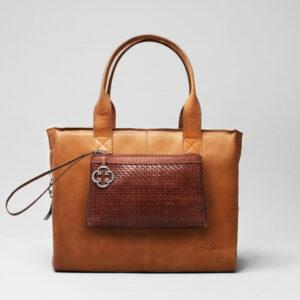 Woven Click Pouch Chestnut - City Bag Tan