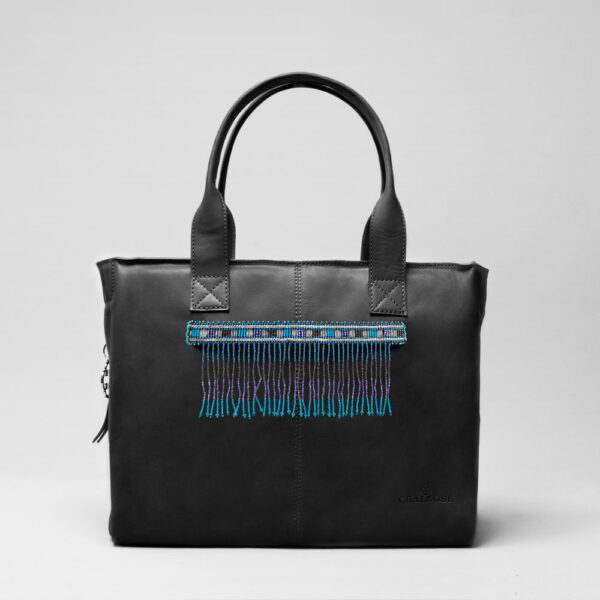 Embroidered Tassel Strap Blue Tones-City Bag Waxy Black