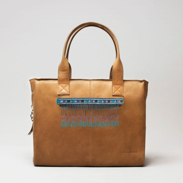 Embroidered Tassel Strap Blue Tones-City Bag Camel