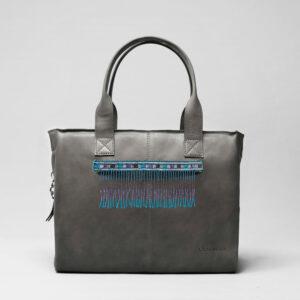Embroidered Tassel Strap Blue Tones - City Bag Dark Grey