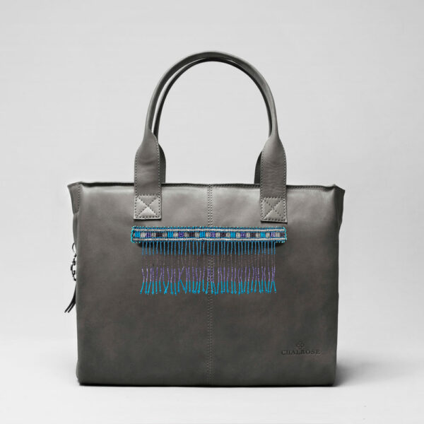Embroidered Tassel Strap Blue Tones - City Bag Dark Grey