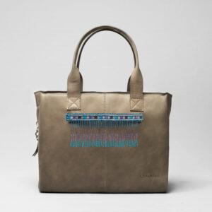 Embroidered Tassel Strap Blue Tones -City Bag Elephant Grey