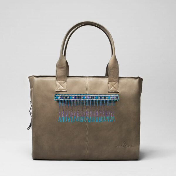 Embroidered Tassel Strap Blue Tones -City Bag Elephant Grey