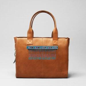 Embroidered-Tassel Strap Blue Tones-City Bag Tan