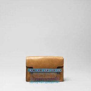 Embroidered Tassel Strap Blue Tones-Piccolo Camel