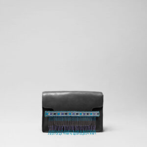 Embroidered Tassel Strap Blue Tones-Piccolo Black Matt