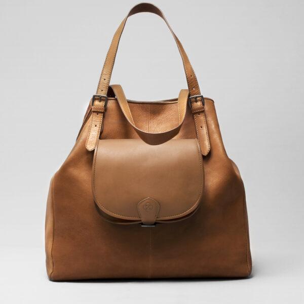 chalrose-round-flap-bag-blond-doppio-tan
