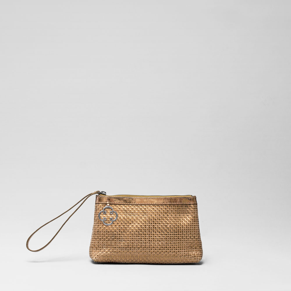 Woven Click Pouch Gold