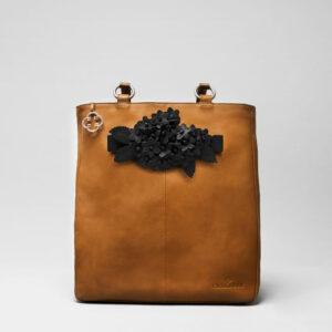 Bouquet Click Black Matt-Back Shopper Camel