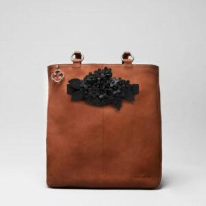 Bouquet Click Black Matt-Back Shopper Cognac
