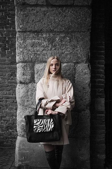 City Bag Waxy Black and Pony Skin Zebra