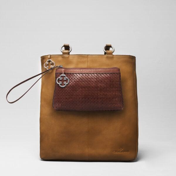 chalrose-clutch-dark-brown-back-shopper-camel