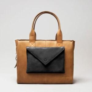 Envelop Clutch Black Matt-City Bag Camel