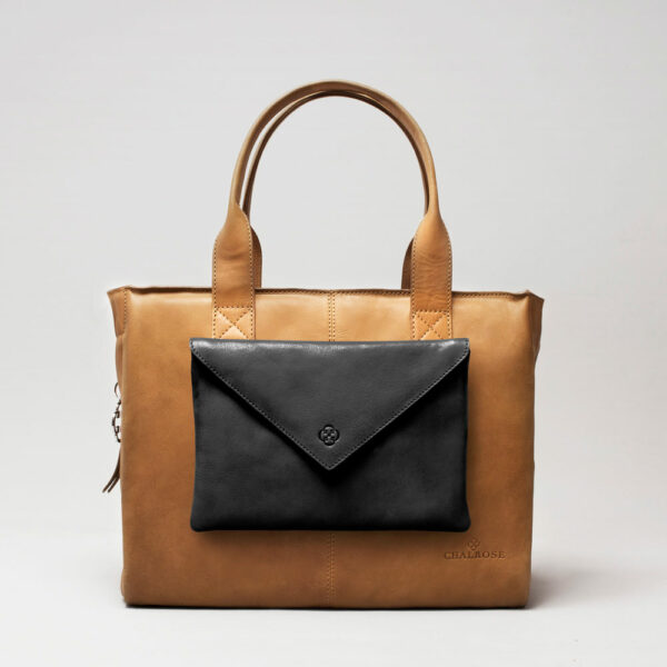 Envelop Clutch Black Matt-City Bag Camel