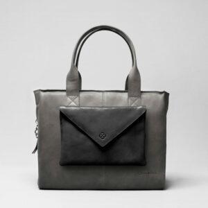 Envelop Clutch Black Matt-City Bag Dark Grey