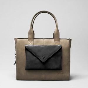 Envelop Clutch Black Matt-City Bag Elephant Grey