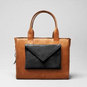 Envelop Clutch Black Matt-City Bag Tan