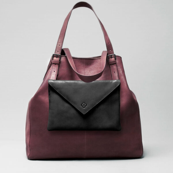 Envelop Clutch Black Matt-Doppio Bordeaux