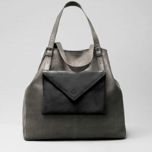 Envelop Clutch Black Matt-Doppio Dark Grey