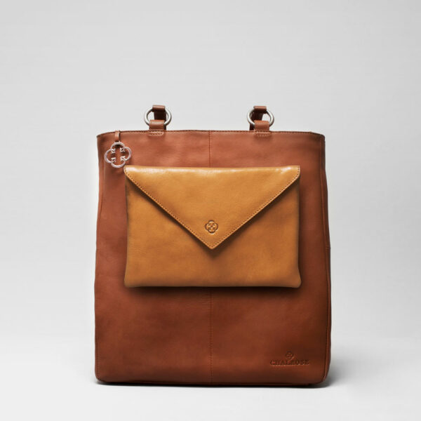 Envelop Clutch Camel-Back Shopper Cognac