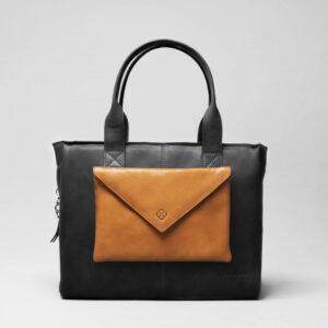 Envelop Clutch Camel-City Bag Waxy Black