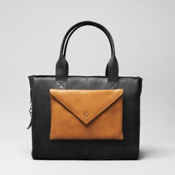Envelop Clutch Camel-City Bag Waxy Black