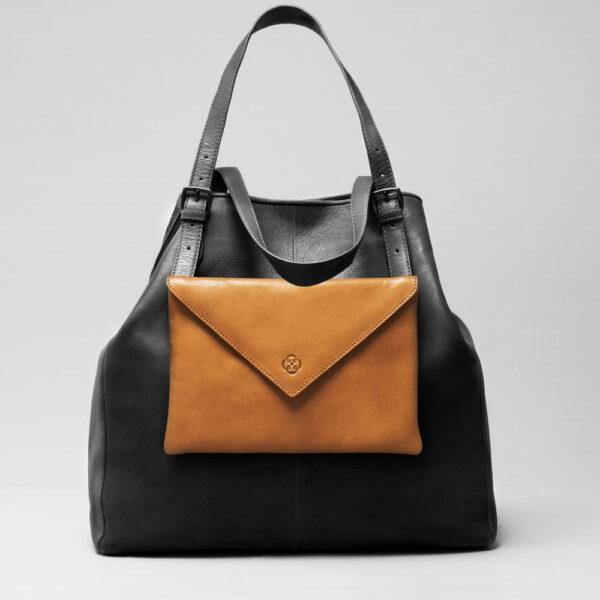 chalrose-envelop-clutch-camel-doppio-dark-black-matt