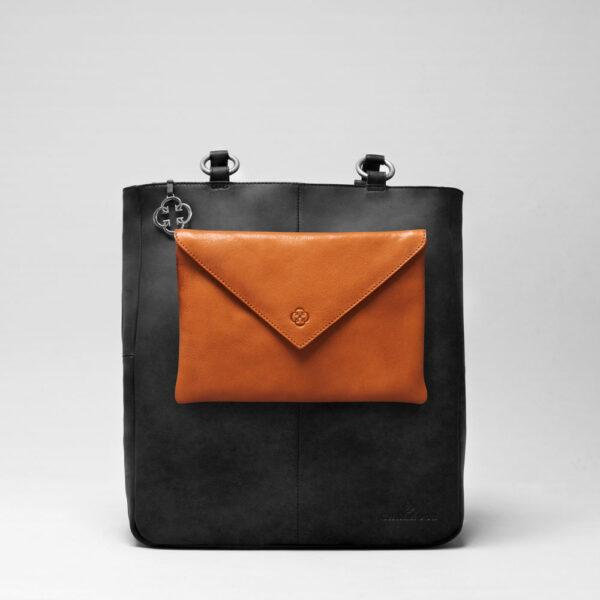 Envelop Clutch Tan-Back Shopper Black Matt