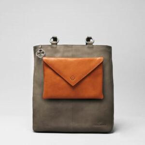 Envelop Clutch Tan-Back Shopper Elephant Grey