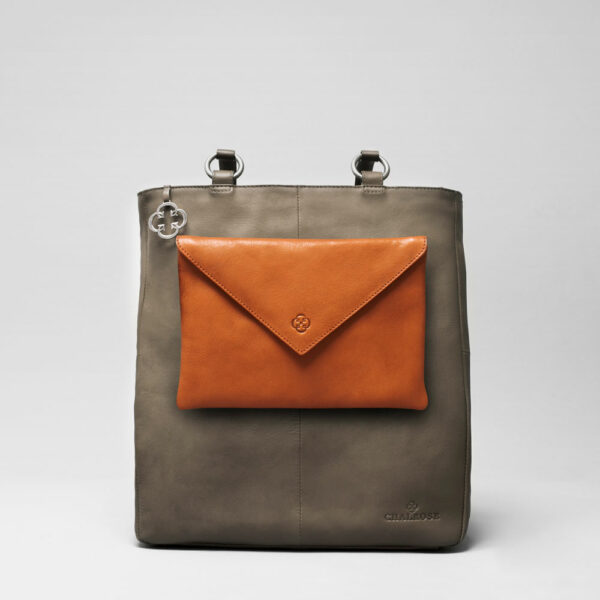 Envelop Clutch Tan-Back Shopper Elephant Grey