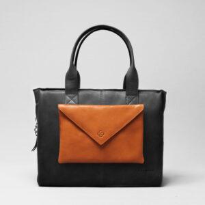 Envelop Clutch Tan-City Bag Waxy Black
