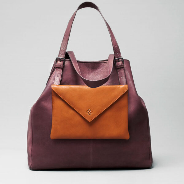 Envelop Clutch Tan-Doppio Bordeaux
