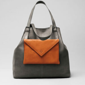 Envelop Clutch Tan-Doppio Dark Grey