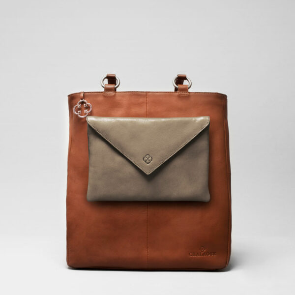 Envelop Clutch Elephant Grey-Back Shopper Cognac