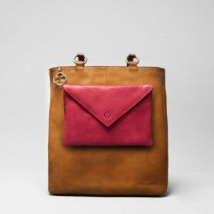 Envelop Clutch Red-Back Shopper Camel