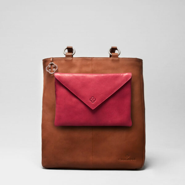 Envelop Clutch Red-Back Shopper Cognac
