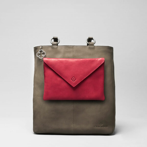 Envelop Clutch Red-Back Shopper Elephant Grey
