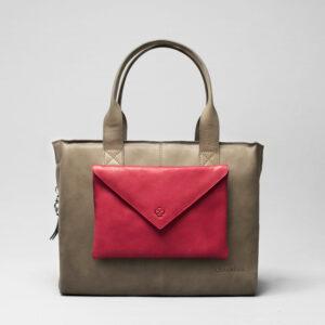 Envelop Clutch Red-City Bag Elephant Grey